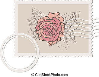 vector blank post stamp with rose .