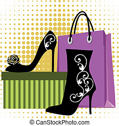 Shoes shopping - Black silhouettes of womens shoes with...