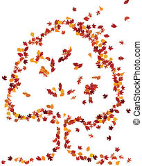 Autumn leaves form a tree shape - Various fall leaves form a...
