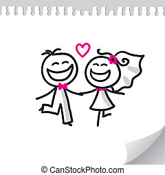 wedding couple - cartoon wedding couple on realistic paper...