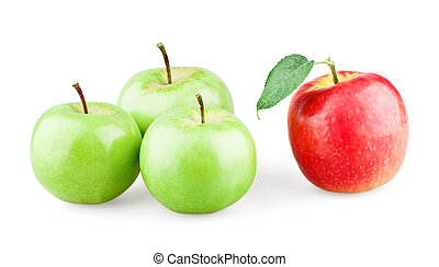 Group of three green apples and single red apple with leaf