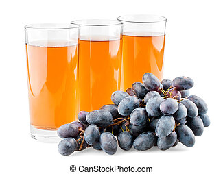 Three glasses of juice and branch of grapes on white...