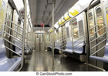 New York City Subways - Interior of a the J Train, part of...