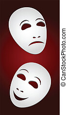 Masks. - Two white theatrical masks on a red background....