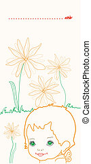 Baby with flowers greeting card