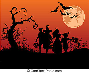 Halloween background with silhouettes of children trick or...