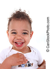 Mixed Race Baby Toddler Boy on White