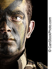 soldier face painted - portrait of young soldier face with...