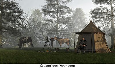 Morning in the Knights Camp - Medieval knight in fifteenth...
