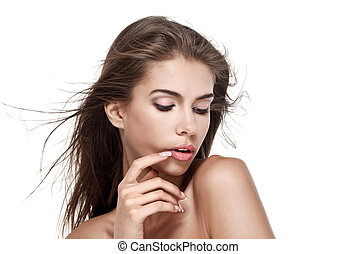 Beautiful woman with fluttering hair isolated