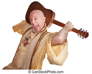 Crazy Guru With Guitar - Crazy bald guru holds guitar over...