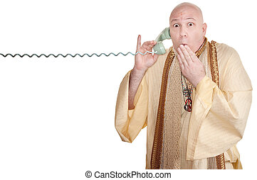 Shocked Monk - Shocked monk with hand on mouth over white...