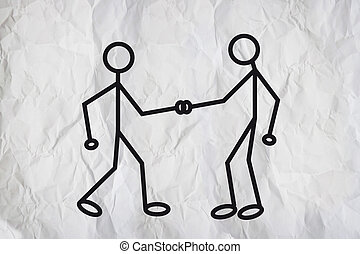 Hand shake - Illustration of two humanoid figures shaking...