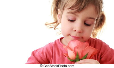 Little girl sniffs and touches beautiful pink rose in hand -...
