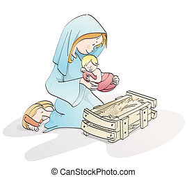 Cute Christmas nativity - virgin mary with baby Jesus in a...