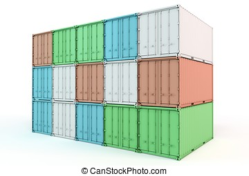 3d cargo containers stacked isolated on white