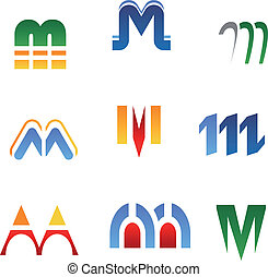 Alphabet letter M - Set of alphabet symbols and elements of...