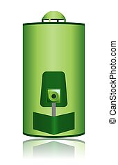 Green Water Heater Boiler Icon - This illustration features...
