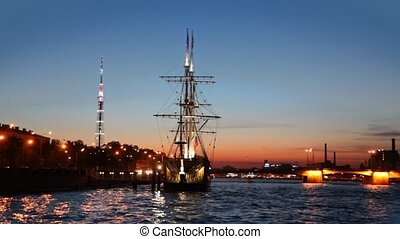 Ship standing at pier on Neva night - ship standing at pier...