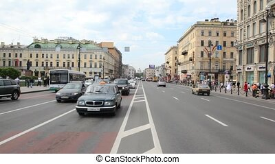 Cars move on Nevsky Avenue - PETERSBURG - MAY 23: Cars move...