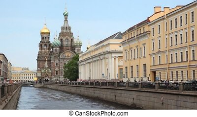 Church of the Savior on Blood standing on river channel...