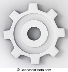 white 3d gear wheel - Matted white 3d gear wheel