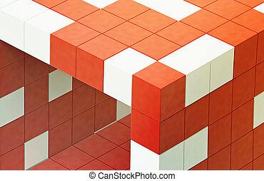 red 3d futuristic cube
