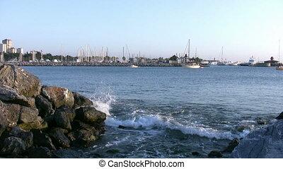 Wave and sailboats