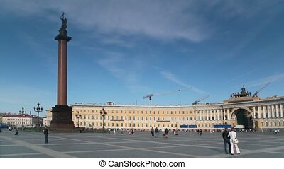 Alexander Column stands on Palace Square in front of Winter...