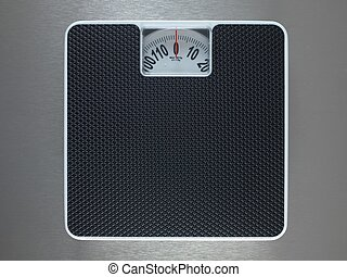 Bathroom Scales - Bathroom scales isolated against a...