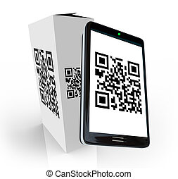 Smart Phone Scanning QR Code on Product Box for Info - A...