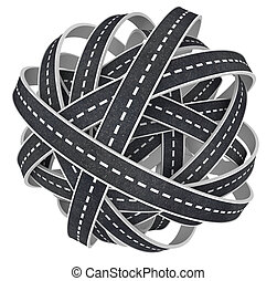 Congested Tangled Ball of Roads 3D Illustration - A tangled...