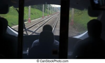 View railroad from train driver cabin during movement - view...