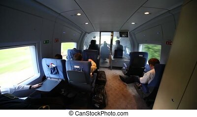 View train cab of operator during movement by rail - view...