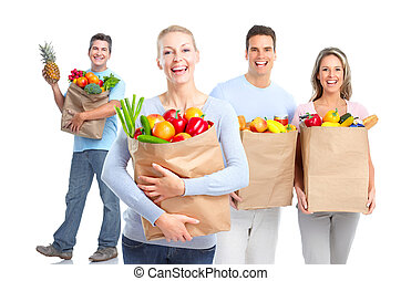 Shopping people. - Smiling shopping people. Isolated over...