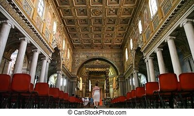 Tourists at Papal Basilica of Saint Mary Major - ROME - JULY...