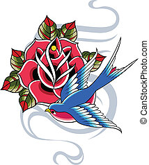 swallow and rose design