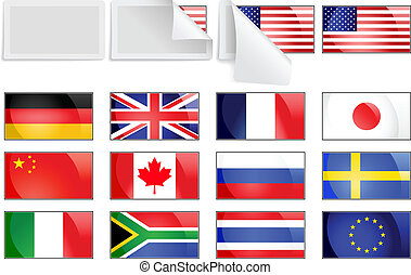 International transfer flags - Editable vector selection of...