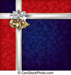 Christmas red blue greeting with white gift ribbons -...