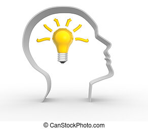 Light bulb - Human head profile with a light bulb - 3d...