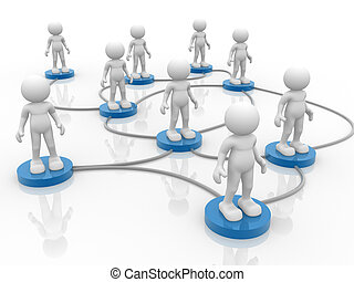 Network - 3d people- human character arranged in a network...