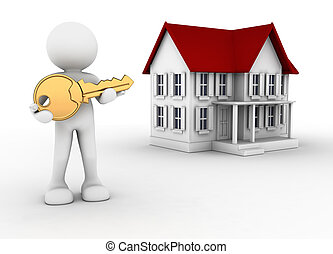 Key and house - 3d people - human character with key in hand...
