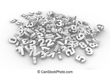 Numbers - Pile of numbers. This is a 3d render illustration