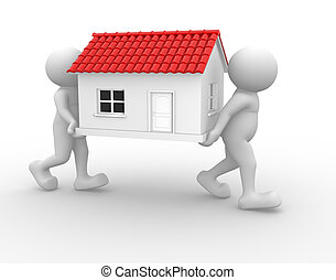 House - 3d people - human character and a house. 3d render...