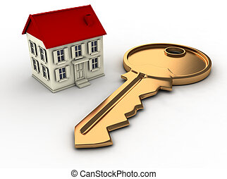 House and key - A house and a key. This is a 3d render...
