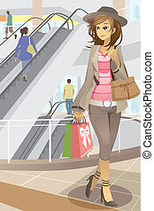 Shopping woman - A vector illustration of a young modern...