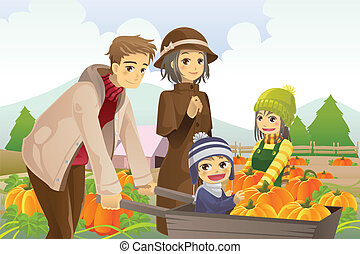 Family doing pumpkin patch - A vector illustration of a...