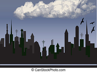 city and cloud - city  silhouette with clound in the sky