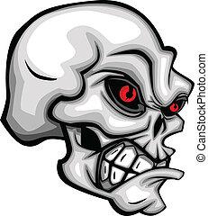 cráneo, caricatura, rojo, ojos