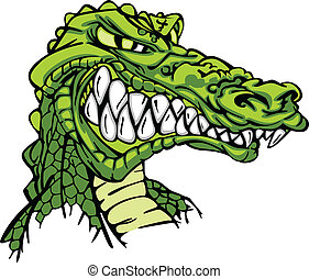 Alligator Mascot Vector Cartoon - Cartoon Image of a Gator...
